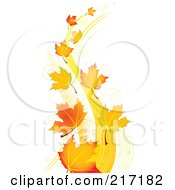 Royalty Free RF Clipart Illustration Of Autumn Maple Leaves Floating In The Breeze by Pushkin