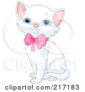 Poster, Art Print Of Cute White Kitten Sitting With A Pink Bow On His Neck