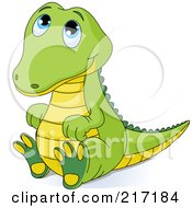 Royalty Free RF Clipart Illustration Of A Cute Baby Crocodile Sitting And Looking Up