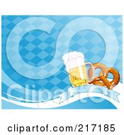 Royalty Free RF Clipart Illustration Of A Blue Diamond Oktoberfest Background Of Beer And A Soft Pretzel On A Banner by Pushkin