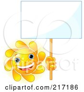 Royalty Free RF Clipart Illustration Of A Freckled Sun Holding Up A Blank White Sign by Pushkin