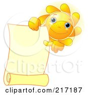 Royalty Free RF Clipart Illustration Of A Freckled Sun Holding And Pointing At A Blank Scroll