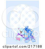 Royalty Free RF Clipart Illustration Of A Blue Boy Background With A Teddy Bear Shoes And Present by Pushkin