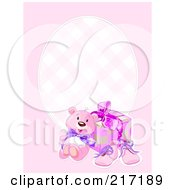 Royalty Free RF Clipart Illustration Of A Pink Girl Background With A Teddy Bear Shoes And Present
