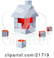 Clipart Picture Illustration Of A White And Red Home Built Of Cubes On A Reflective Surface