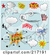 Royalty Free RF Clipart Illustration Of A Digital Collage Of Comic Sound Clouds On Blue 2 by Pushkin