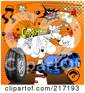 Royalty Free RF Clipart Illustration Of A Digital Collage Of Comic Sound Clouds On Orange by Pushkin