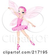 Royalty Free RF Clipart Illustration Of A Pretty Pink Haired Fairy Gracefully Dancing by Pushkin
