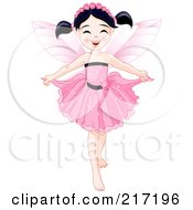 Royalty Free RF Clipart Illustration Of A Pretty Black Haired Fairy Holding Her Dress by Pushkin