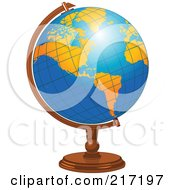 Royalty Free RF Clipart Illustration Of A Shiny Blue Desk Globe With Orange American Continents by Pushkin