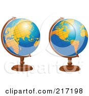 Royalty Free RF Clipart Illustration Of A Digital Collage Of Shiny Blue Desk Globes With Orange Continents by Pushkin