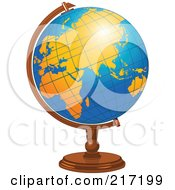 Royalty Free RF Clipart Illustration Of A Shiny Blue Desk Globe With Orange Continents by Pushkin