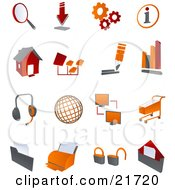 Collection Of Red And Orange Internet Icons On A White Background