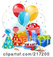 Royalty Free RF Clipart Illustration Of Confetti Falling Over Gifts Balloons Cake And A Party Hats by Pushkin