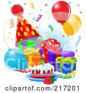 Royalty Free RF Clipart Illustration Of Confetti Falling Over Presents Balloons Cake And A Party Hat by Pushkin