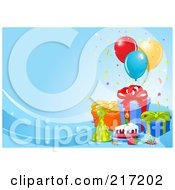 Royalty Free RF Clipart Illustration Of A Blue Wave Background With Birthday Cake Presents Balloons And A Party Hat
