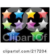 Royalty Free RF Clipart Illustration Of A Digital Collage Of Shiny Colorful Star Icons