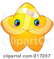 Cute Yellow Star Character Bandaged