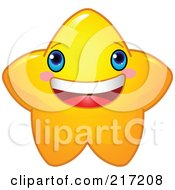 Royalty Free RF Clipart Illustration Of A Cute Yellow Star Character Smiling by Pushkin