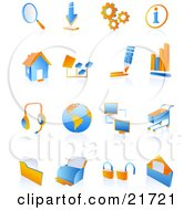 Clipart Picture Illustration Of A Collection Of Blue And Orange 3D Internet Icons On A Reflective White Background