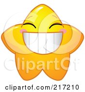 Cute Yellow Star Character Grinning