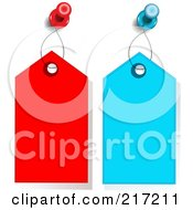 Royalty Free RF Clipart Illustration Of A Digital Collage Of Tacks Holding Up Red And Blue Tags
