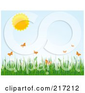 Royalty Free RF Clipart Illustration Of A Sun In A Pastel Blue Sky Over Orange Butterflies Grass And Flowers by Pushkin