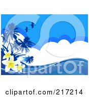 Royalty Free RF Clipart Illustration Of A Blue Tropical Background Of Plumeria Flowers Birds Palm Trees Clouds And Waves by Pushkin