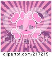 Grungy Pink Female Skull On A Splattered Burst Background