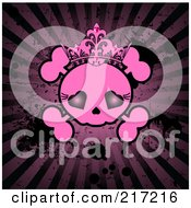 Royalty Free RF Clipart Illustration Of A Grungy Pink Female Skull On A Dark Splattered Burst Background by Pushkin