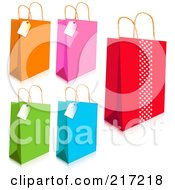 Royalty Free RF Clipart Illustration Of A Digital Collage Of Colorful Shopping Bags And Tags With Shadows by Pushkin