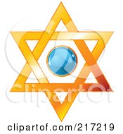 Blue Shiny Circle In A Star Of David