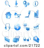 Clipart Picture Illustration Of A Collection Of Blue 3D Internet Icons On A Reflective White Background