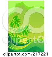 Royalty Free RF Clipart Illustration Of A Green Tropical Background Of Waves And Palm Trees