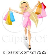 Royalty Free RF Clipart Illustration Of A Young Blond Woman Holding Up Shopping Bags by Pushkin