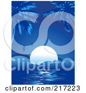 Royalty Free RF Clipart Illustration Of A Blue Tropical Background Of Birds Flying Over The Setting Sun And Palm Trees