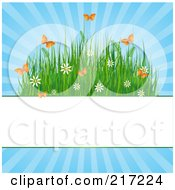 Royalty Free RF Clipart Illustration Of A Blank White Bar With Grasses Flowers And Butterflies On Blue by Pushkin