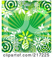 Royalty Free RF Clipart Illustration Of A Green Burst Background Witih Circles Flowers Bursts And Butterflies