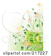 Royalty Free RF Clipart Illustration Of A Gradient Green Background With Vines Flowers And Butterflies
