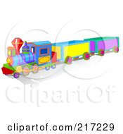 Royalty Free RF Clipart Illustration Of A Colorful Toy Train With A Shadow