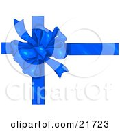 Birthday Christmas Or Anniversary Gift Wrapped In White With A Blue Bow And Ribbon
