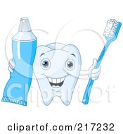 Royalty Free RF Clipart Illustration Of A Cute Tooth Character Holding Out Tooth Paste And A Brush