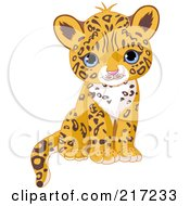 Royalty Free RF Clipart Illustration Of A Cute Jaguar Cub Sitting by Pushkin