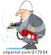 Royalty Free RF Clipart Illustration Of A Caucasian Worker Man In A Puddle Of Water After Using A Fire Extinguisher