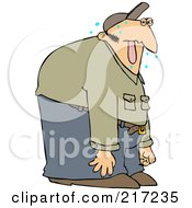 Royalty Free RF Clipart Illustration Of A Sweaty Man Hanging His Tongue Out