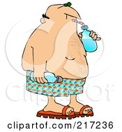 Royalty Free RF Clipart Illustration Of A Summer Man Gulping Water From A Bottle