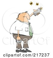 Royalty Free RF Clipart Illustration Of A Caucasian Businessman Releasing Three Butterflies From A Can