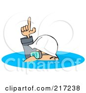 Royalty Free RF Clipart Illustration Of A Caucasian Worker Man In A Deep Puddle Of Water