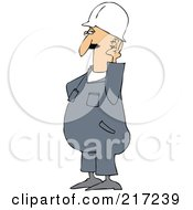 Royalty Free RF Clipart Illustration Of A Caucasian Worker Man Cupping His Ear To Hear