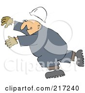 Caucasian Worker Man Slipping And Falling Forward